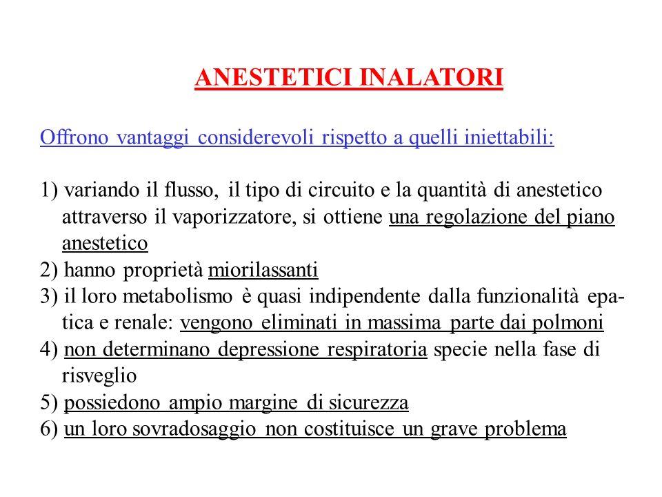 ANESTETICI INALATORI Offrono vantaggi considerevoli rispetto a quelli iniettabili: 1) variando il flusso, il tipo di circuito e la quantità di anestet