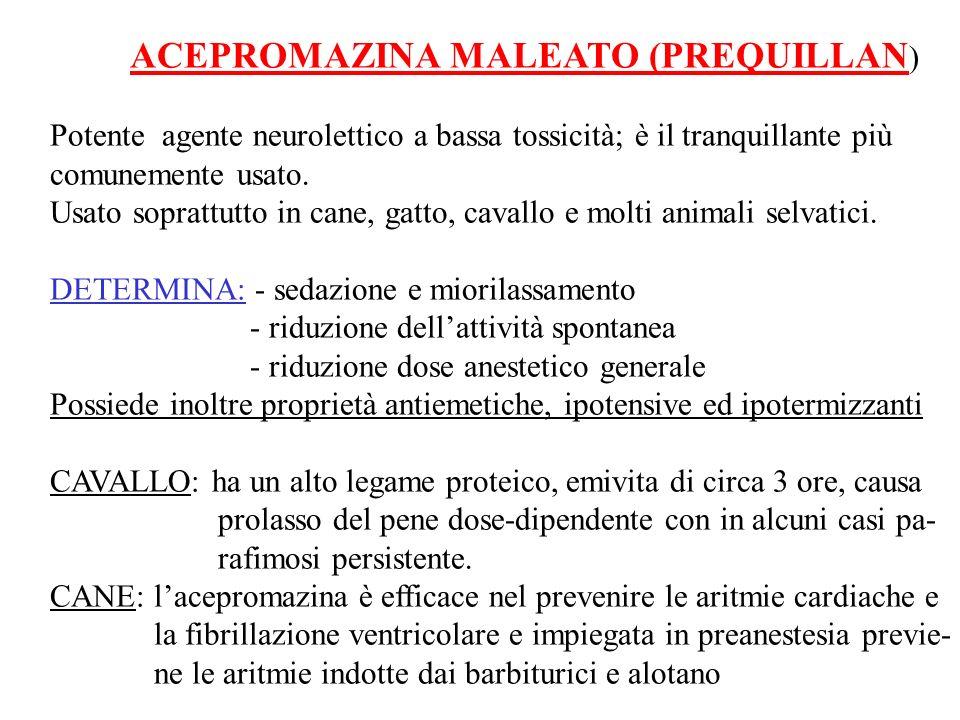 ACEPROMAZINA MALEATO (PREQUILLAN ) Potente agente neurolettico a bassa tossicità; è il tranquillante più comunemente usato. Usato soprattutto in cane,