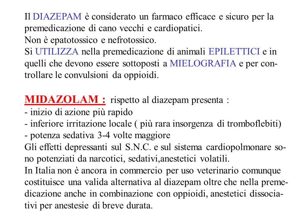 Il DIAZEPAM è considerato un farmaco efficace e sicuro per la premedicazione di cano vecchi e cardiopatici. Non è epatotossico e nefrotossico. Si UTIL