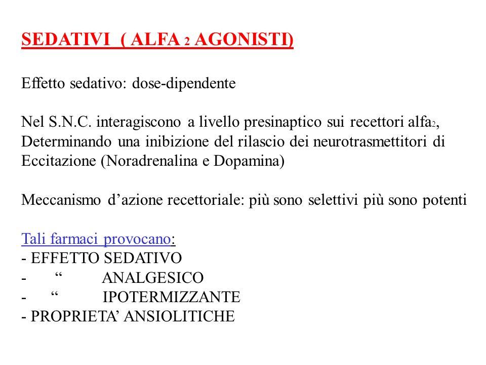 SEDATIVI ( ALFA 2 AGONISTI) Effetto sedativo: dose-dipendente Nel S.N.C. interagiscono a livello presinaptico sui recettori alfa 2, Determinando una i