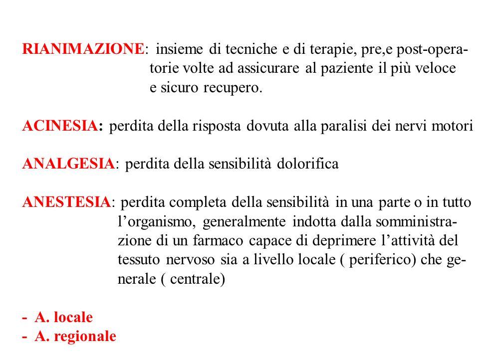 GLI ANESTETICI INALATORI SI DIVIDONO IN: A.GASSOSI: - CICLOPROPANO - N 2 O A.