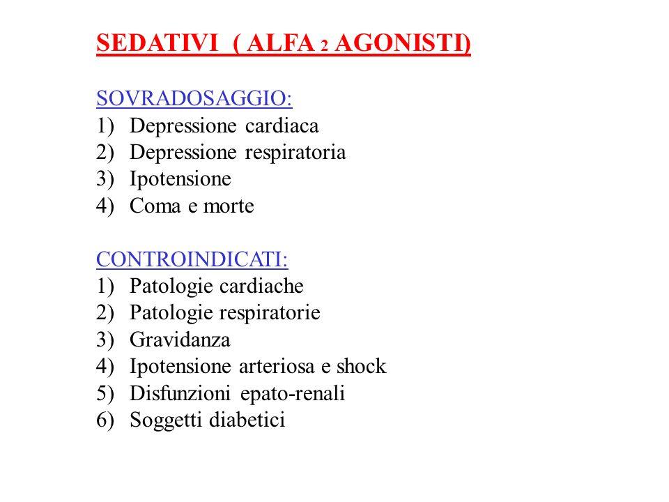SEDATIVI ( ALFA 2 AGONISTI) SOVRADOSAGGIO: 1)Depressione cardiaca 2)Depressione respiratoria 3)Ipotensione 4)Coma e morte CONTROINDICATI: 1)Patologie