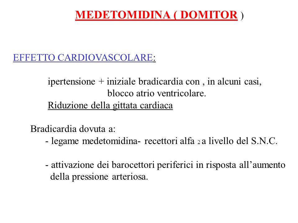MEDETOMIDINA ( DOMITOR ) EFFETTO CARDIOVASCOLARE: ipertensione + iniziale bradicardia con, in alcuni casi, blocco atrio ventricolare. Riduzione della
