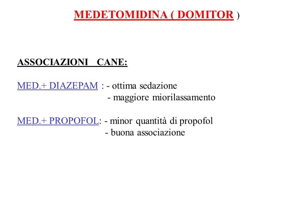 MEDETOMIDINA ( DOMITOR ) ASSOCIAZIONI CANE: MED.+ DIAZEPAM : - ottima sedazione - maggiore miorilassamento MED.+ PROPOFOL: - minor quantità di propofo