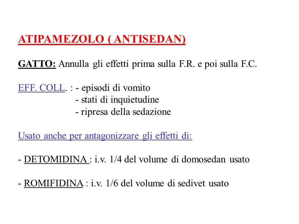 ATIPAMEZOLO ( ANTISEDAN) GATTO: Annulla gli effetti prima sulla F.R. e poi sulla F.C. EFF. COLL. : - episodi di vomito - stati di inquietudine - ripre