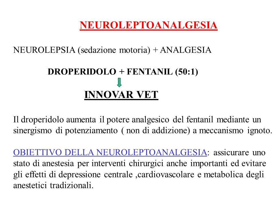 NEUROLEPTOANALGESIA NEUROLEPSIA (sedazione motoria) + ANALGESIA DROPERIDOLO + FENTANIL (50:1) INNOVAR VET Il droperidolo aumenta il potere analgesico
