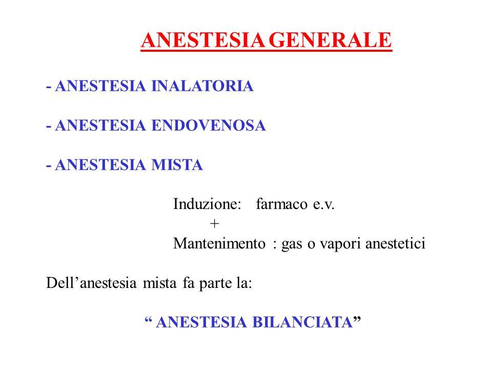 ANESTESIA GENERALE - ANESTESIA INALATORIA - ANESTESIA ENDOVENOSA - ANESTESIA MISTA Induzione: farmaco e.v. + Mantenimento : gas o vapori anestetici De