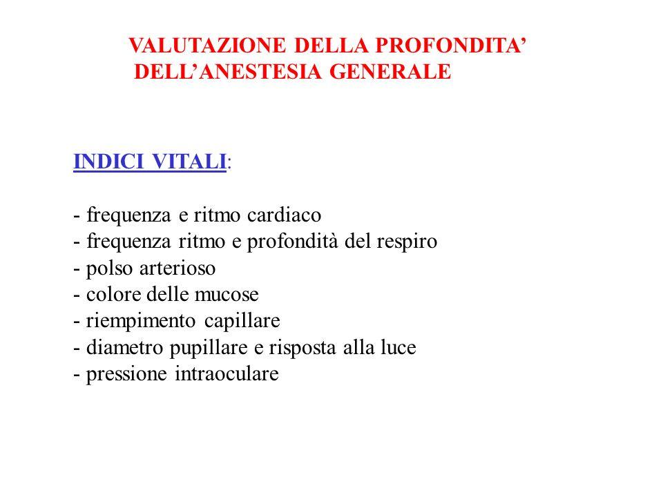 VALUTAZIONE DELLA PROFONDITA DELLANESTESIA GENERALE INDICI VITALI: - frequenza e ritmo cardiaco - frequenza ritmo e profondità del respiro - polso art