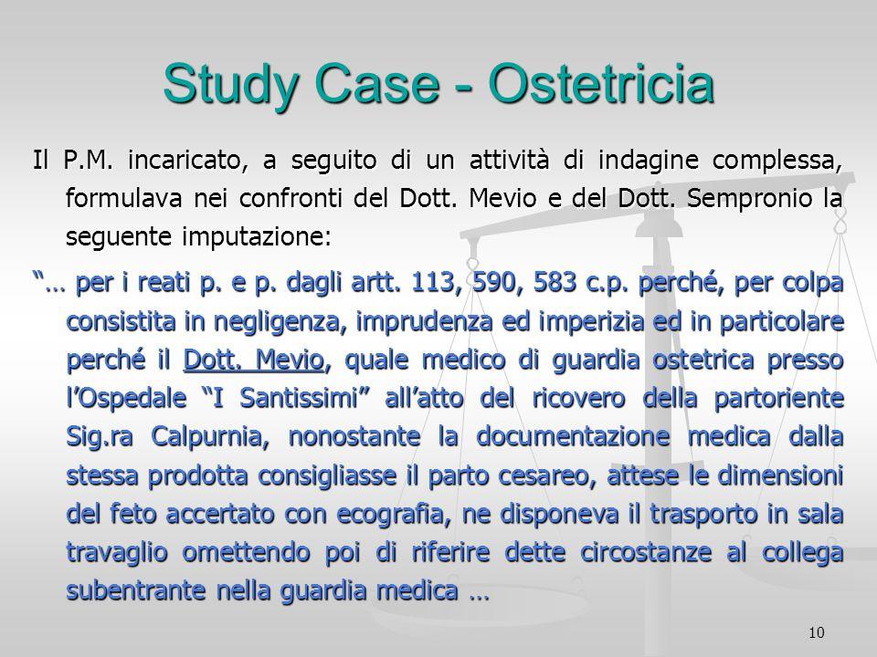 10 Study Case - Ostetricia Il P.M. incaricato, a seguito di un attività di indagine complessa, formulava nei confronti del Dott. Mevio e del Dott. Sem