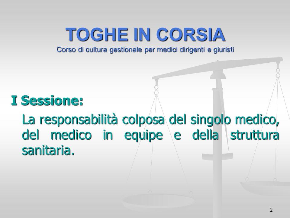 2 TOGHE IN CORSIA Corso di cultura gestionale per medici dirigenti e giuristi I Sessione: La responsabilità colposa del singolo medico, del medico in