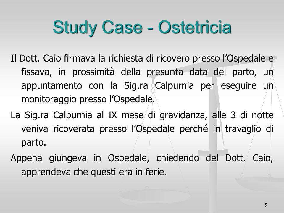 5 Study Case - Ostetricia Il Dott. Caio firmava la richiesta di ricovero presso lOspedale e fissava, in prossimità della presunta data del parto, un a