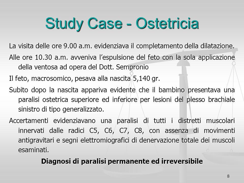 8 Study Case - Ostetricia La visita delle ore 9.00 a.m. evidenziava il completamento della dilatazione. Alle ore 10.30 a.m. avveniva lespulsione del f