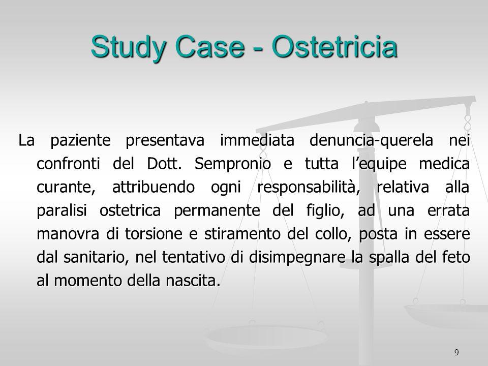 9 Study Case - Ostetricia La paziente presentava immediata denuncia-querela nei confronti del Dott. Sempronio e tutta lequipe medica curante, attribue
