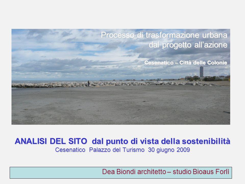 Dea Biondi architetto – studio Bioaus Forlì Processo di trasformazione urbana dal progetto allazione Cesenatico – Città delle Colonie ANALISI DEL SITO dal punto di vista della sostenibilità Cesenatico Palazzo del Turismo 30 giugno 2009