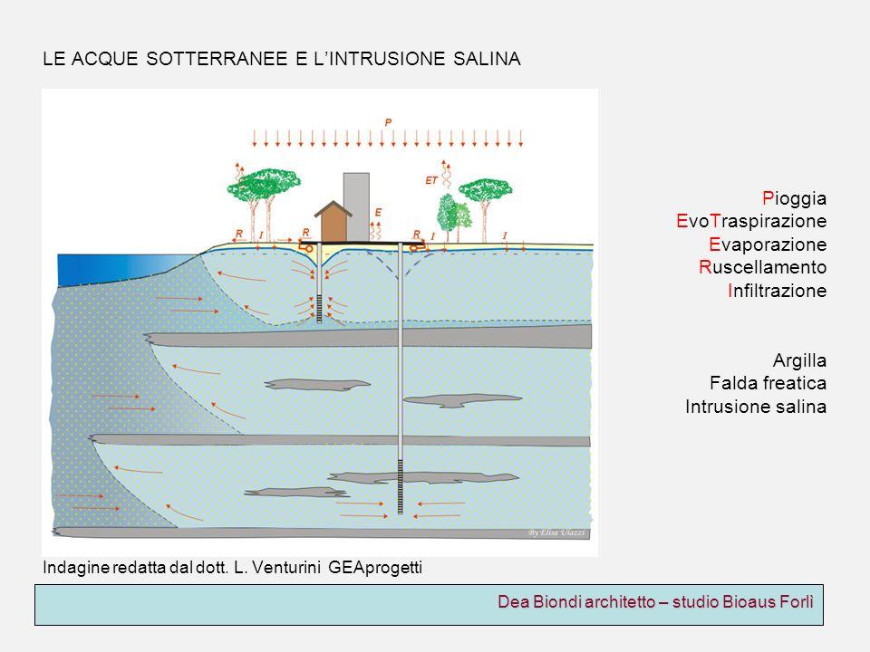 Dea Biondi architetto – studio Bioaus Forlì LE ACQUE SOTTERRANEE E LINTRUSIONE SALINA Pioggia EvoTraspirazione Evaporazione Ruscellamento Infiltrazion