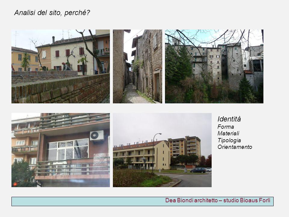 Dea Biondi architetto – studio Bioaus Forlì Identità Forma Materiali Tipologia Orientamento Analisi del sito, perché?