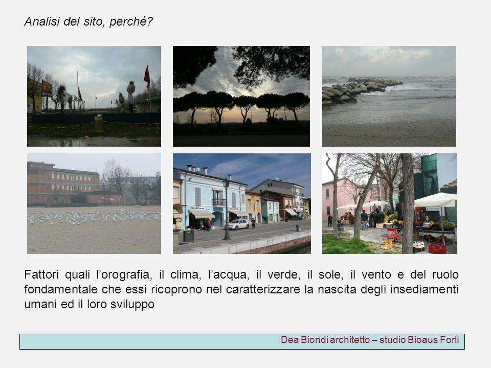 Dea Biondi architetto – studio Bioaus Forlì Fattori quali lorografia, il clima, lacqua, il verde, il sole, il vento e del ruolo fondamentale che essi