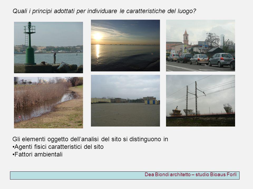 Dea Biondi architetto – studio Bioaus Forlì Gli elementi oggetto dellanalisi del sito si distinguono in Agenti fisici caratteristici del sito Fattori