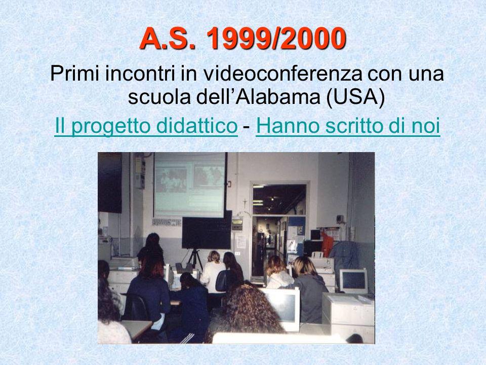 A.S. 1999/2000 Primi incontri in videoconferenza con una scuola dellAlabama (USA) Il progetto didatticoIl progetto didattico - Hanno scritto di noiHan