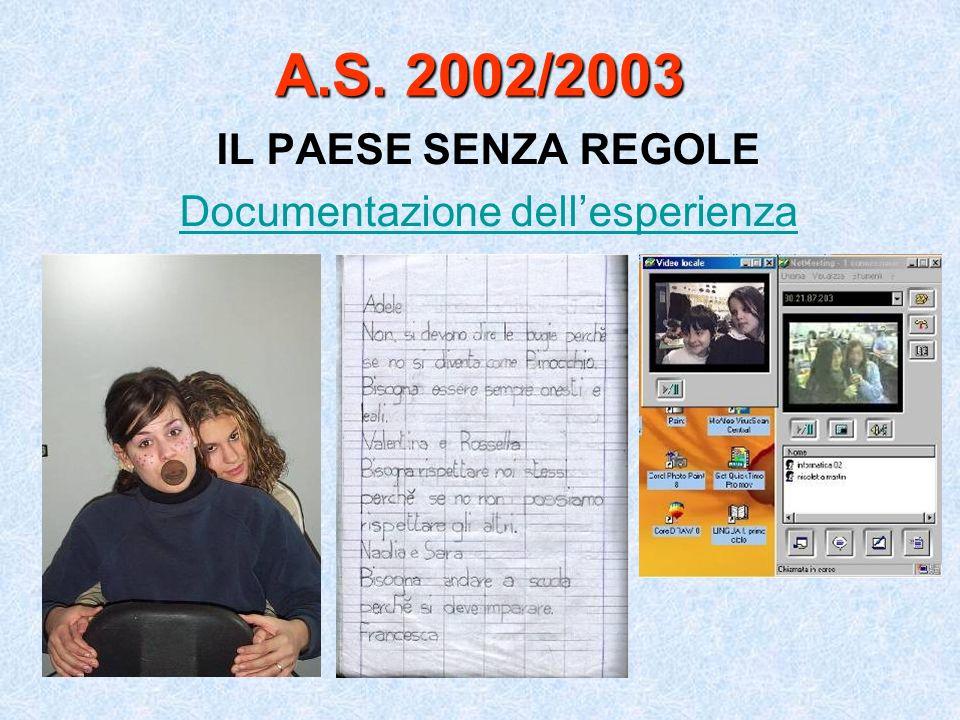 A.S. 2002/2003 IL PAESE SENZA REGOLE Documentazione dellesperienza