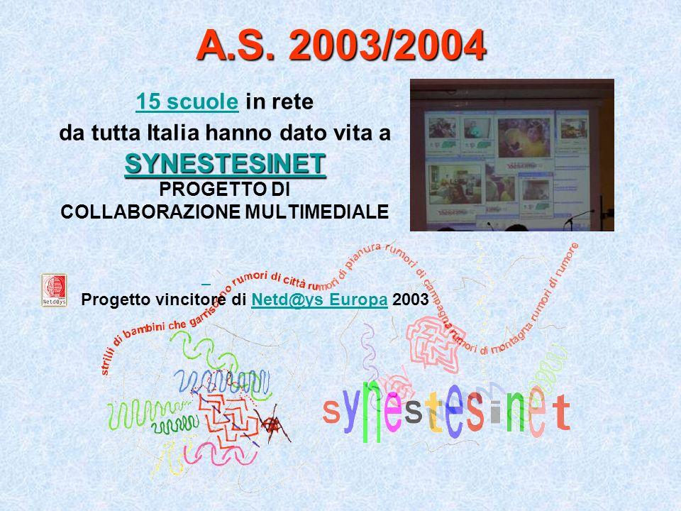 A.S. 2003/2004 15 scuole15 scuole in rete da tutta Italia hanno dato vita a SYNESTESINET PROGETTO DI COLLABORAZIONE MULTIMEDIALE Progetto vincitore di