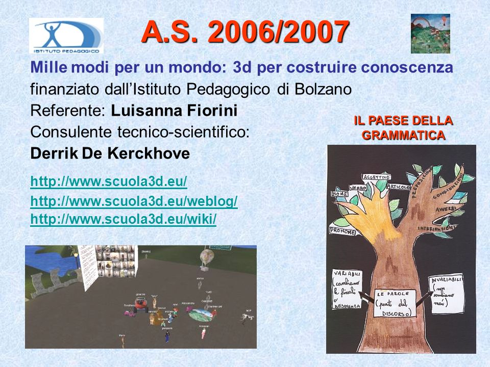 A.S. 2006/2007 Mille modi per un mondo: 3d per costruire conoscenza finanziato dallIstituto Pedagogico di Bolzano Referente: Luisanna Fiorini Consulen