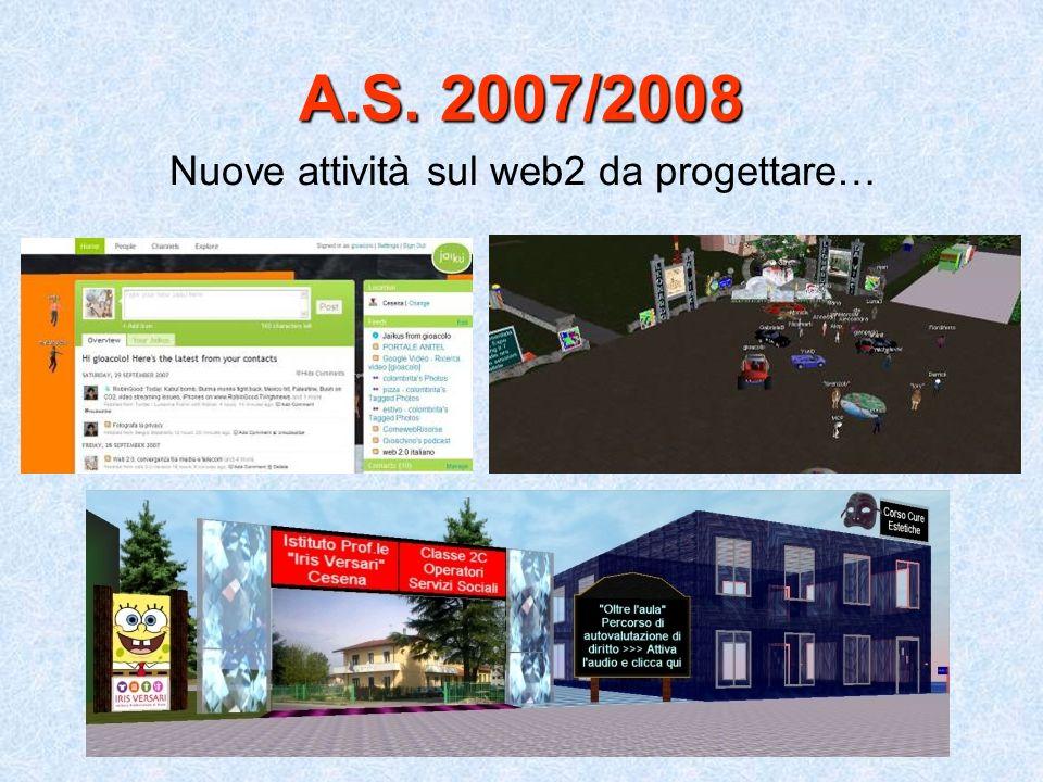 A.S. 2007/2008 Nuove attività sul web2 da progettare…