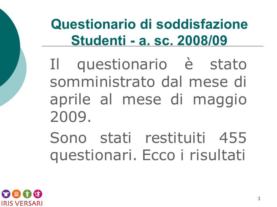 1 Questionario di soddisfazione Studenti - a. sc.