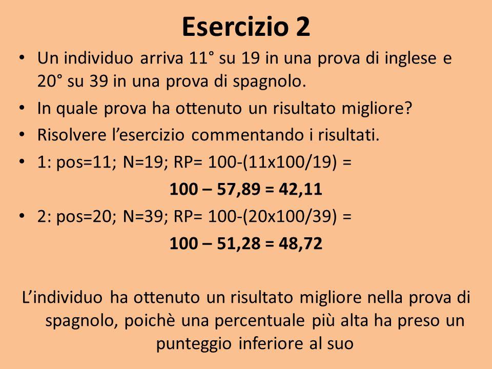 Esercizio 2 Un individuo arriva 11° su 19 in una prova di inglese e 20° su 39 in una prova di spagnolo. In quale prova ha ottenuto un risultato miglio