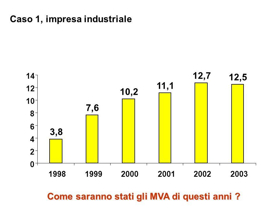 3,8 7,6 10,2 11,1 12,7 12,5 0 2 4 6 8 10 12 14 199819992000200120022003 Caso 1, impresa industriale Come saranno stati gli MVA di questi anni ?