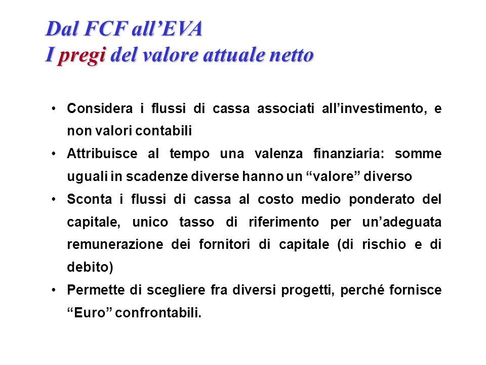 Dal FCF allEVA I pregi del valore attuale netto Considera i flussi di cassa associati allinvestimento, e non valori contabili Attribuisce al tempo una