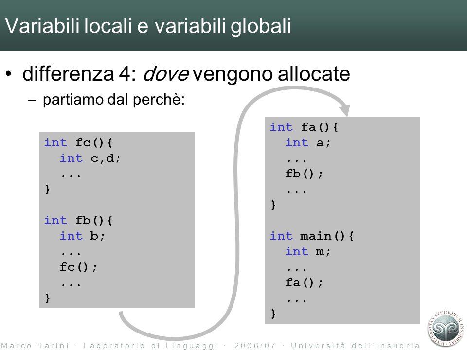 M a r c o T a r i n i L a b o r a t o r i o d i L i n g u a g g i 2 0 0 6 / 0 7 U n i v e r s i t à d e l l I n s u b r i a Variabili locali e variabili globali differenza 4: dove vengono allocate –partiamo dal perchè: int fa(){ int a;...