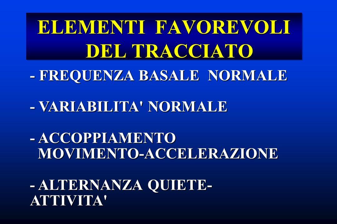 ELEMENTI FAVOREVOLI DEL TRACCIATO - FREQUENZA BASALE NORMALE - VARIABILITA' NORMALE - ACCOPPIAMENTO MOVIMENTO-ACCELERAZIONE MOVIMENTO-ACCELERAZIONE -