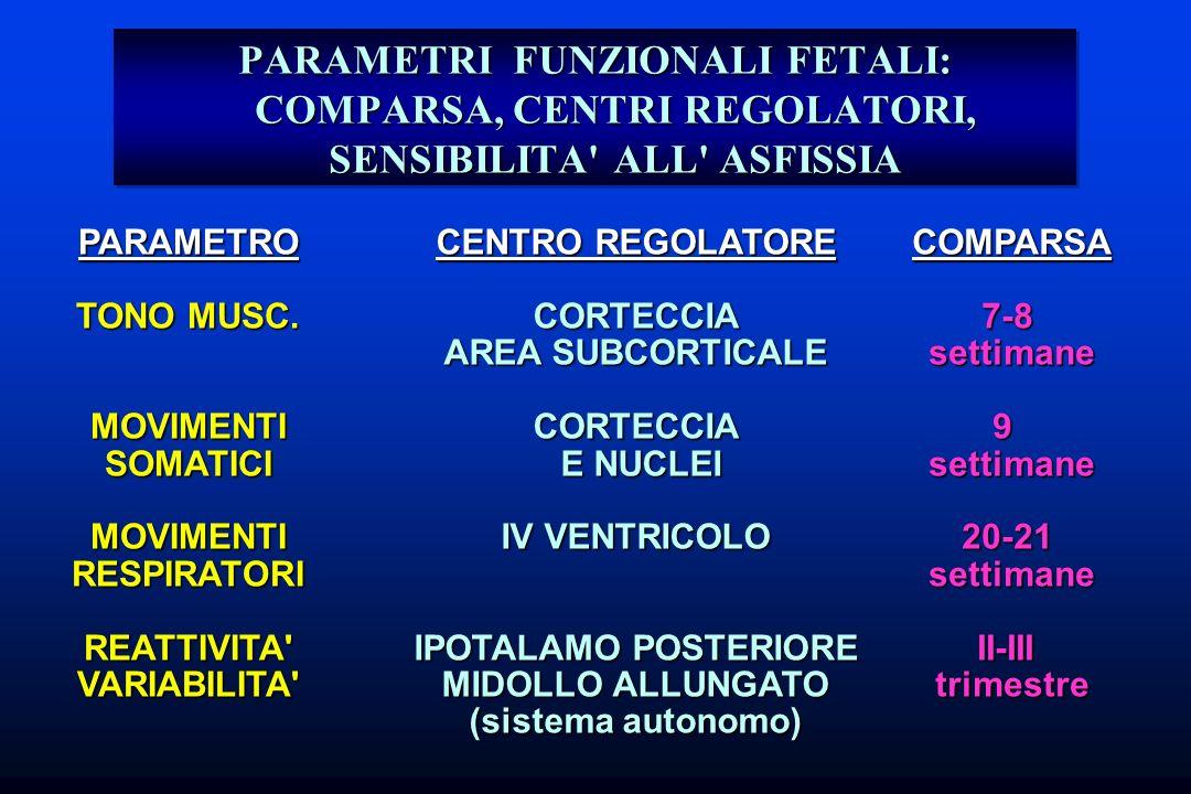 PARAMETRI FUNZIONALI FETALI: COMPARSA, CENTRI REGOLATORI, SENSIBILITA' ALL' ASFISSIA PARAMETRO TONO MUSC. MOVIMENTISOMATICIMOVIMENTIRESPIRATORIREATTIV