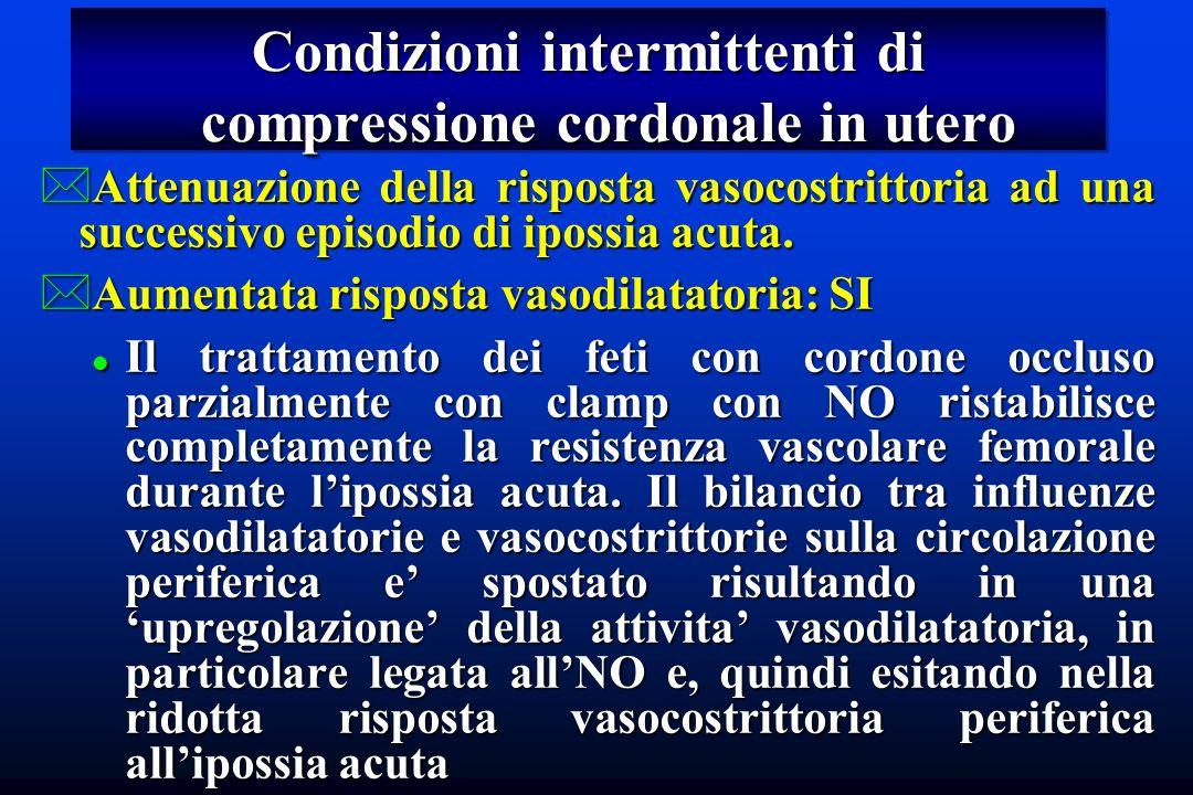 Condizioni intermittenti di compressione cordonale in utero *Attenuazione della risposta vasocostrittoria ad una successivo episodio di ipossia acuta.