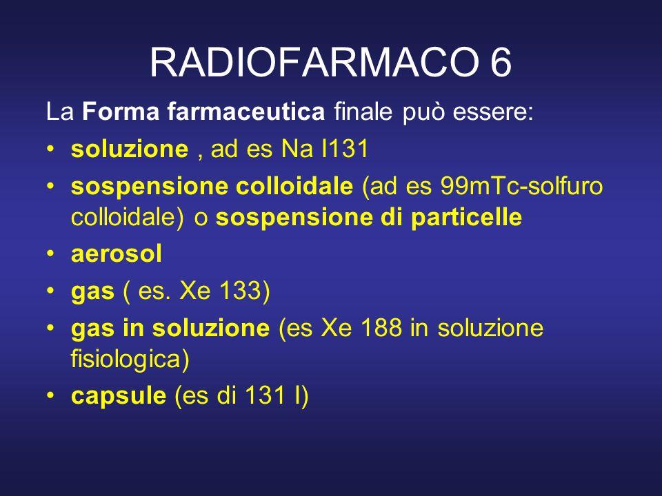 RADIOFARMACO 6 La Forma farmaceutica finale può essere: soluzione, ad es Na I131 sospensione colloidale (ad es 99mTc-solfuro colloidale) o sospensione