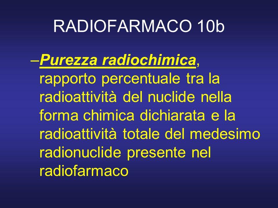 RADIOFARMACO 10b –Purezza radiochimica, rapporto percentuale tra la radioattività del nuclide nella forma chimica dichiarata e la radioattività totale