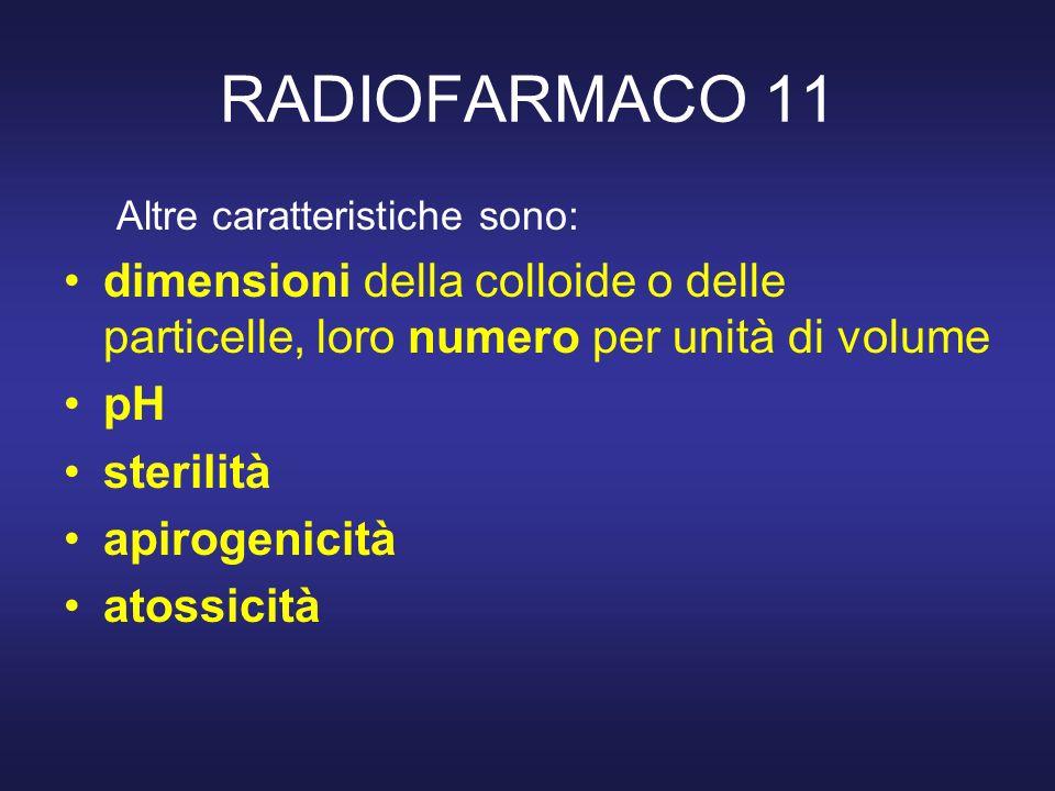 RADIOFARMACO 11 Altre caratteristiche sono: dimensioni della colloide o delle particelle, loro numero per unità di volume pH sterilità apirogenicità a