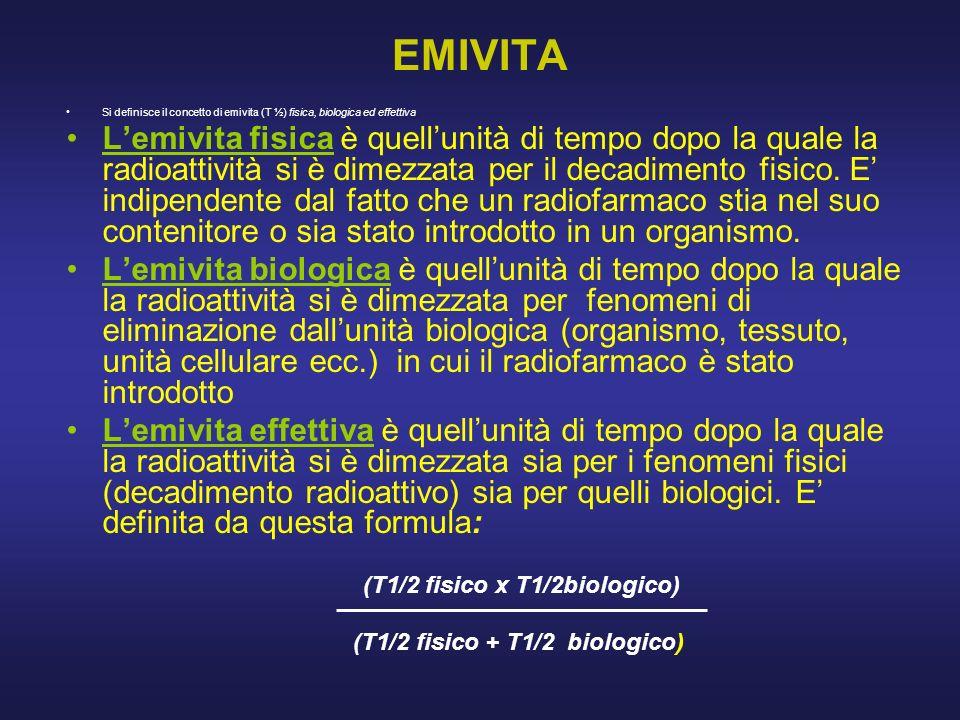 EMIVITA Si definisce il concetto di emivita (T ½) fisica, biologica ed effettiva. Lemivita fisica è quellunità di tempo dopo la quale la radioattività