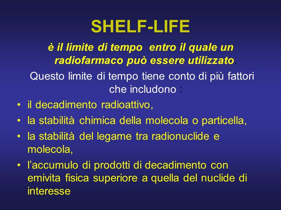 SHELF-LIFE è il limite di tempo entro il quale un radiofarmaco può essere utilizzato. Questo limite di tempo tiene conto di più fattori che includono