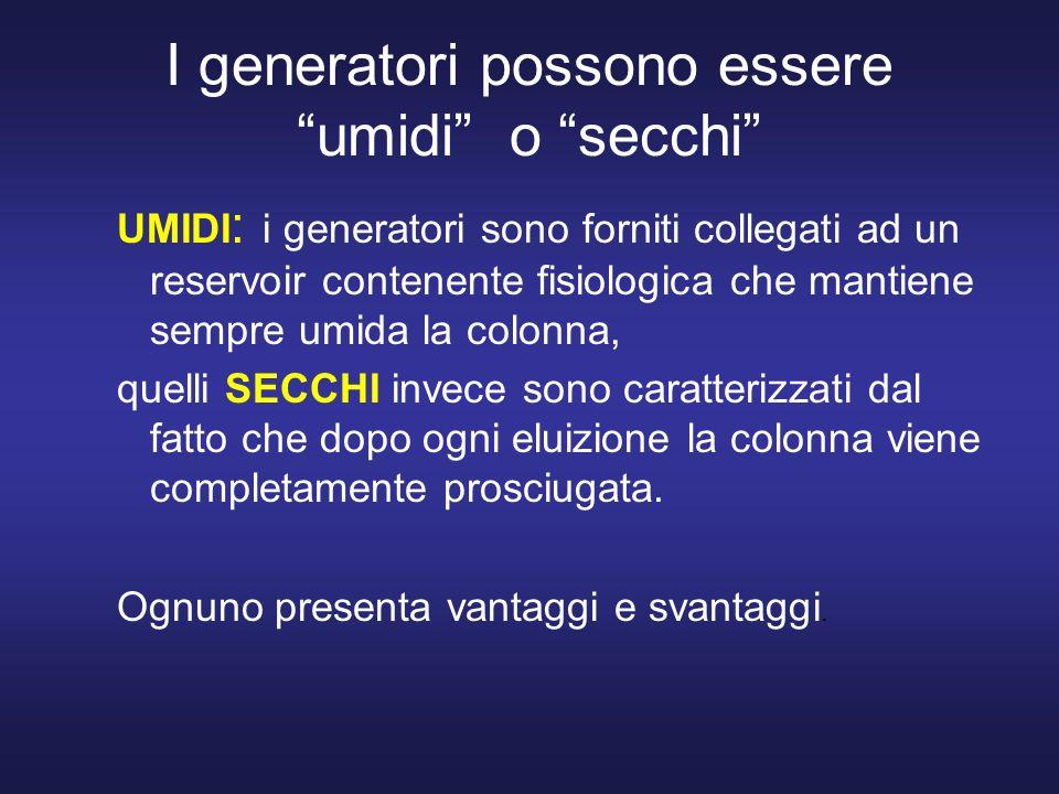 I generatori possono essere umidi o secchi UMIDI : i generatori sono forniti collegati ad un reservoir contenente fisiologica che mantiene sempre umid