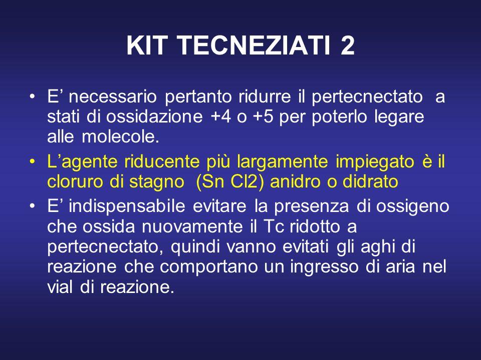 KIT TECNEZIATI 2 E necessario pertanto ridurre il pertecnectato a stati di ossidazione +4 o +5 per poterlo legare alle molecole. Lagente riducente più