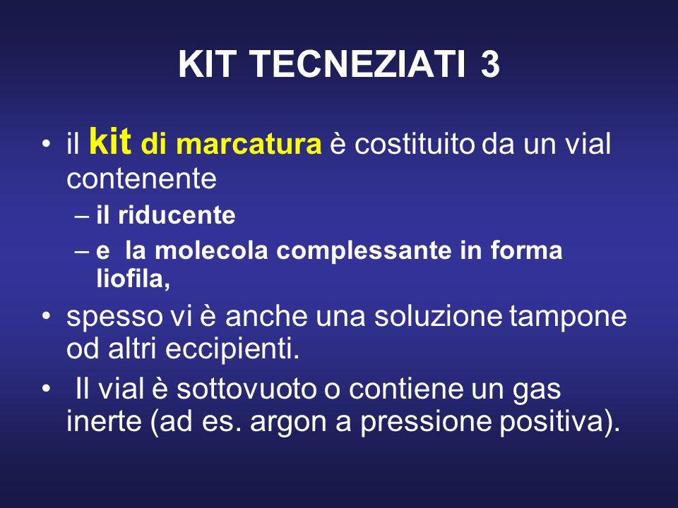KIT TECNEZIATI 3 il kit di marcatura è costituito da un vial contenente –il riducente –e la molecola complessante in forma liofila, spesso vi è anche