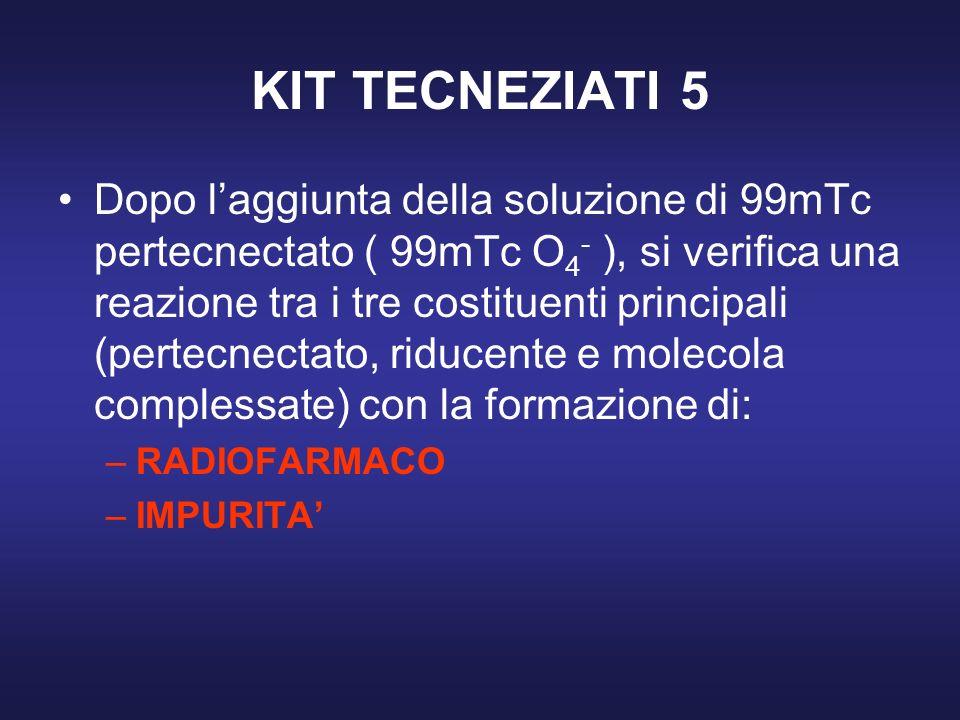 KIT TECNEZIATI 5 Dopo laggiunta della soluzione di 99mTc pertecnectato ( 99mTc O 4 - ), si verifica una reazione tra i tre costituenti principali (per