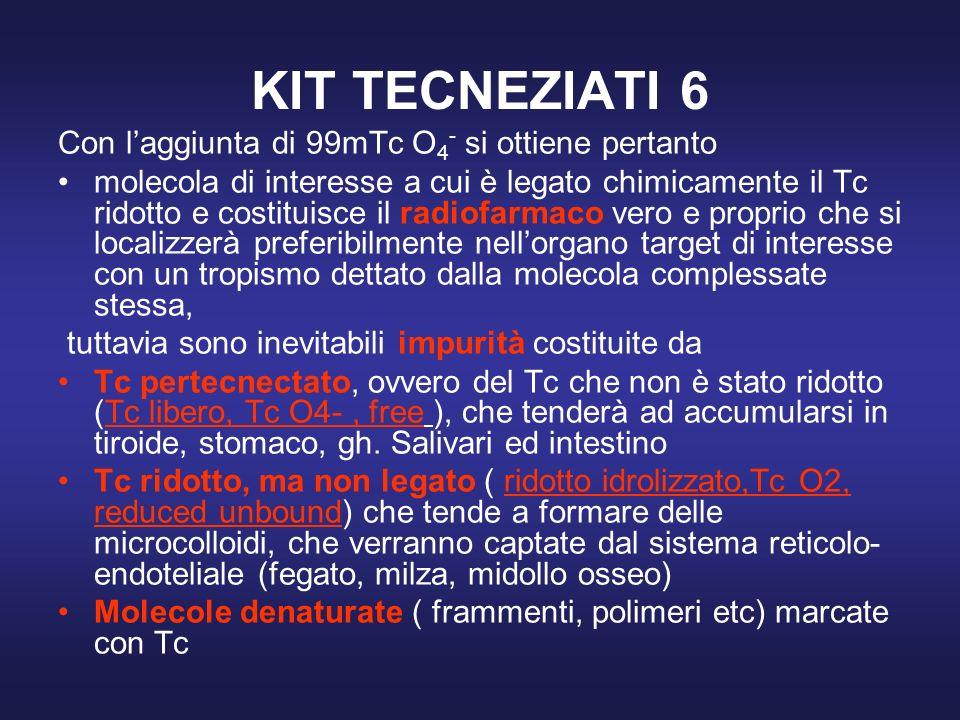 KIT TECNEZIATI 6 Con laggiunta di 99mTc O 4 - si ottiene pertanto molecola di interesse a cui è legato chimicamente il Tc ridotto e costituisce il rad
