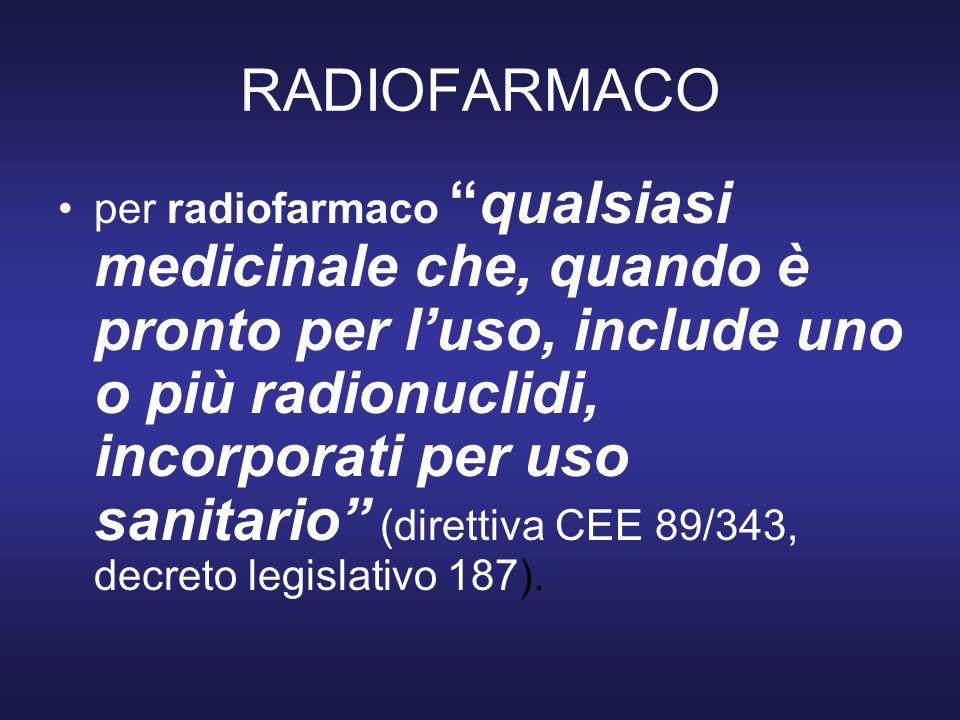 RADIOFARMACO 9b –radioattività totale in Bq o multipli (di frequente è ancora presente il corrispettivo in Ci) –attività specifica, cioè il rapporto tra radioattività e massa ( grammo o mole) della molecola radioattiva, ad es MBq / nmole –concentrazione radioattiva, cioè rapporto tra la radioattività e il volume della soluzione (MBq/ml)