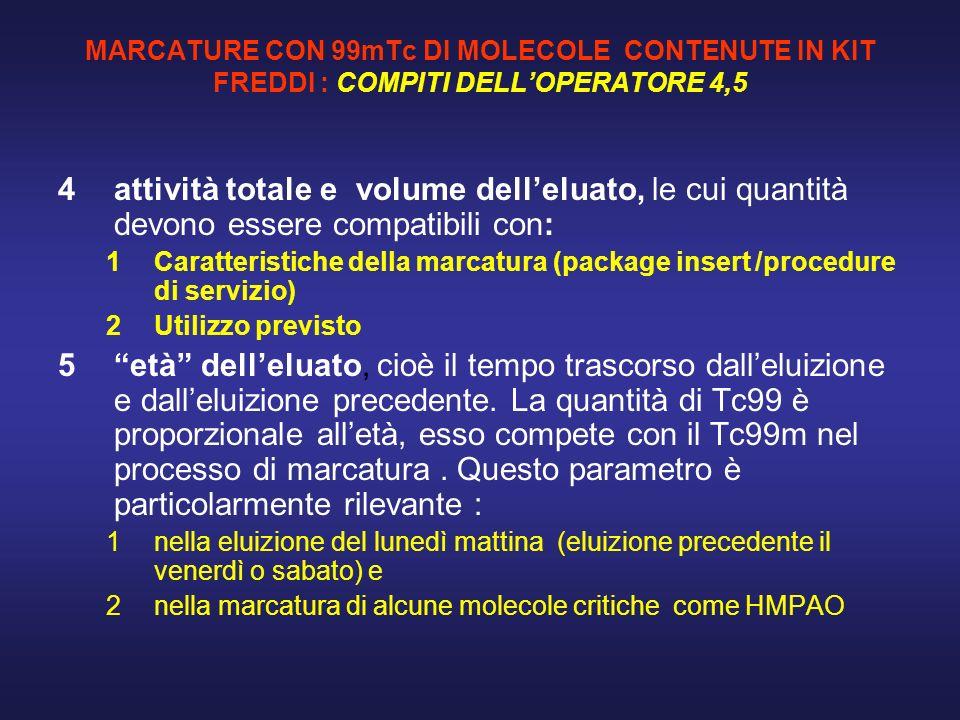 MARCATURE CON 99mTc DI MOLECOLE CONTENUTE IN KIT FREDDI : COMPITI DELLOPERATORE 4,5 4attività totale e volume delleluato, le cui quantità devono esser