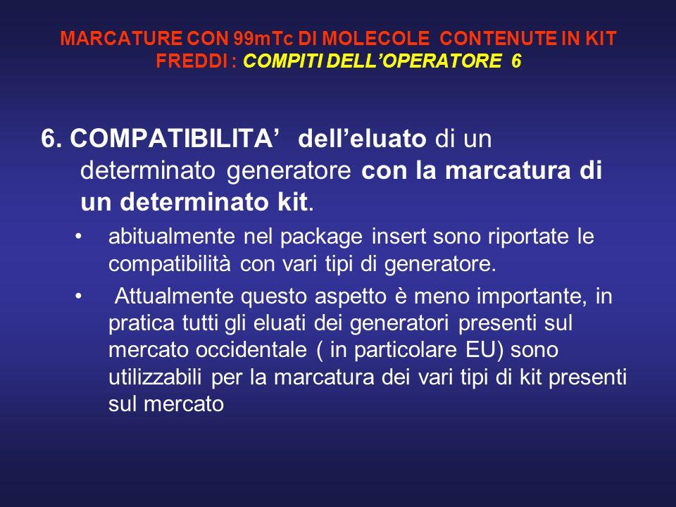 MARCATURE CON 99mTc DI MOLECOLE CONTENUTE IN KIT FREDDI : COMPITI DELLOPERATORE 6 6. COMPATIBILITA delleluato di un determinato generatore con la marc