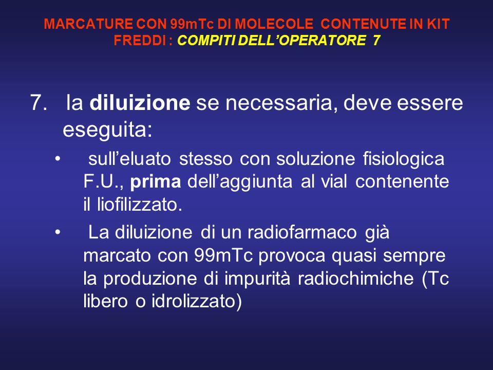MARCATURE CON 99mTc DI MOLECOLE CONTENUTE IN KIT FREDDI : COMPITI DELLOPERATORE 7 7. la diluizione se necessaria, deve essere eseguita: sulleluato ste