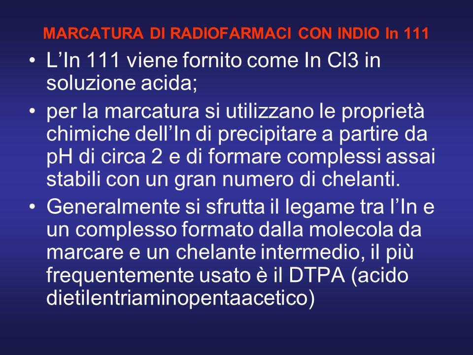 MARCATURA DI RADIOFARMACI CON INDIO In 111 LIn 111 viene fornito come In Cl3 in soluzione acida; per la marcatura si utilizzano le proprietà chimiche